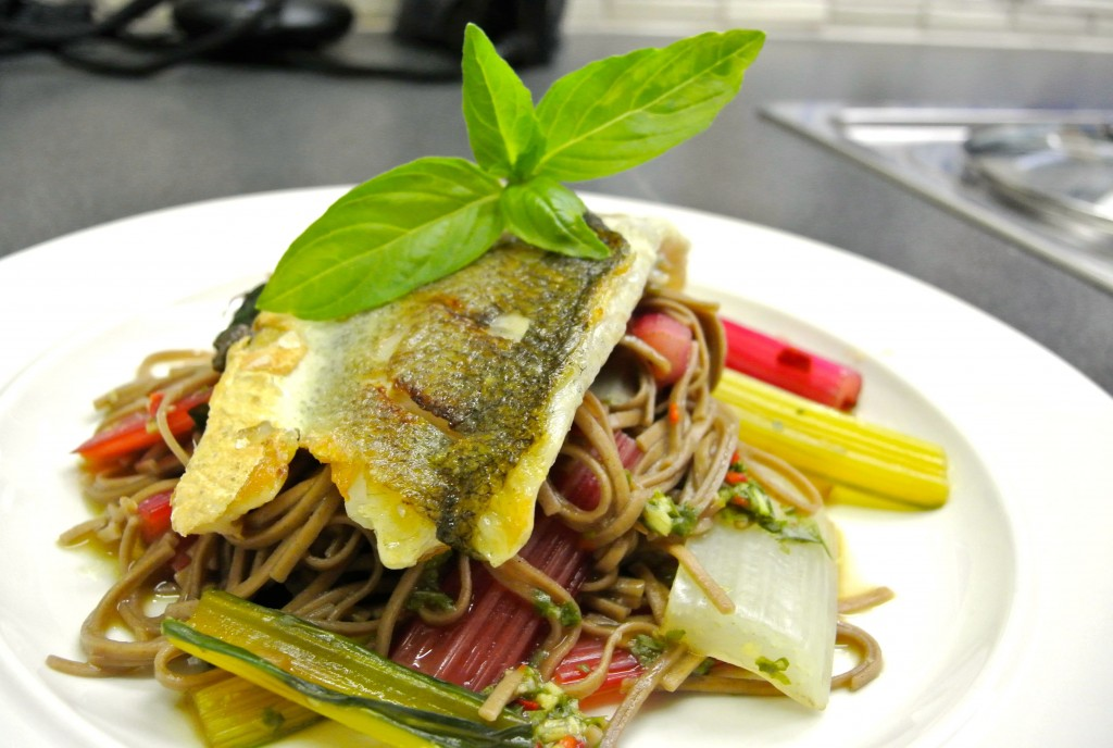 Sea bass with holy basil noodles