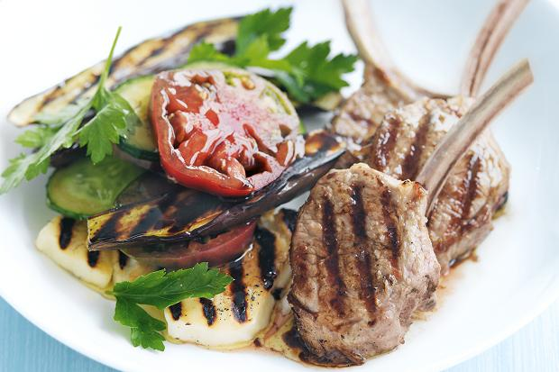 Lamb Cutlets with Halloumi Salad
