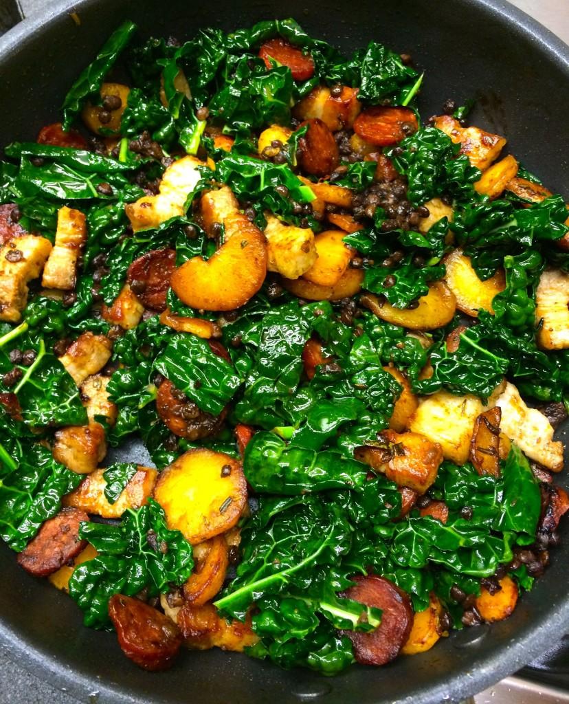 Kale, parsnip, pork & chorizo