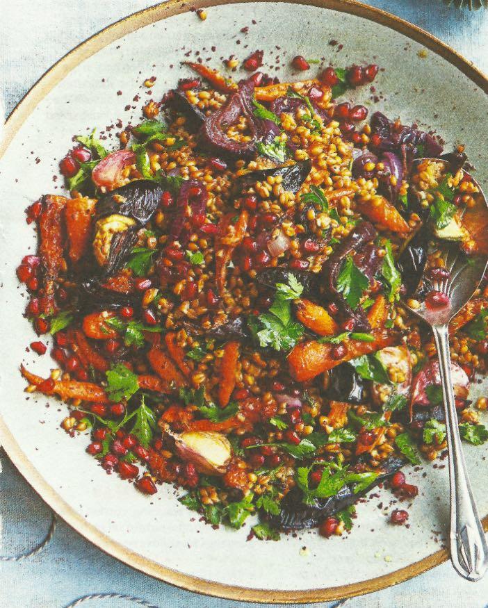 Jewelled Spelt & Roasted Veg Salad