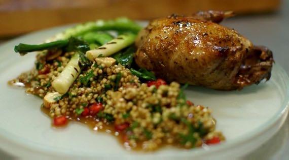 Roast Partridge with Buckwheat Salad