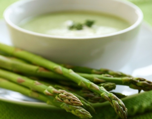 """""""bowl of chilled asparagus soup"""""""