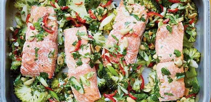 """""""Roasted Salmon with Broccoli, Lime and Chilli"""""""