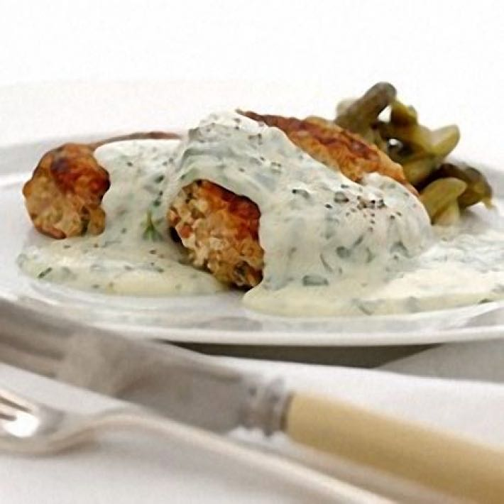 HAM HASH CAKES WITH PARSLEY SAUCE