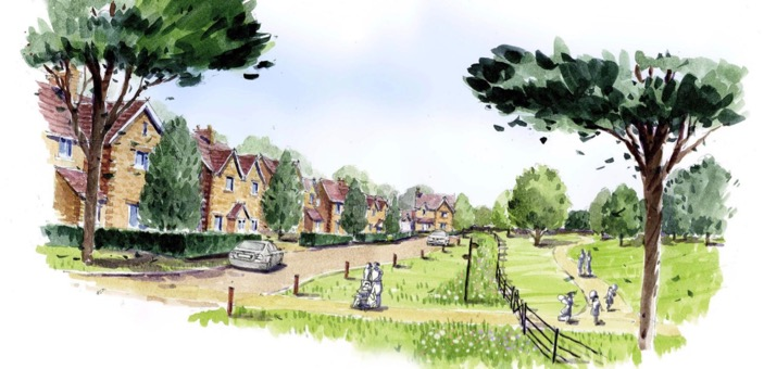 An Artist's drawing of Barnard Gate Garden Village / Blog / A day spent with friends is a day well spent / The CountryWives