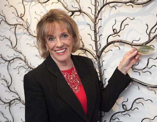 Esther Rantzen holding Silver Line tree