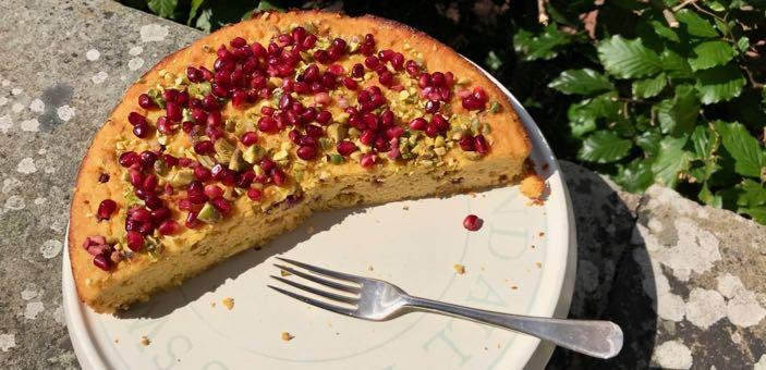 Clementine, Pistachio And Pomegranate Cake recipe