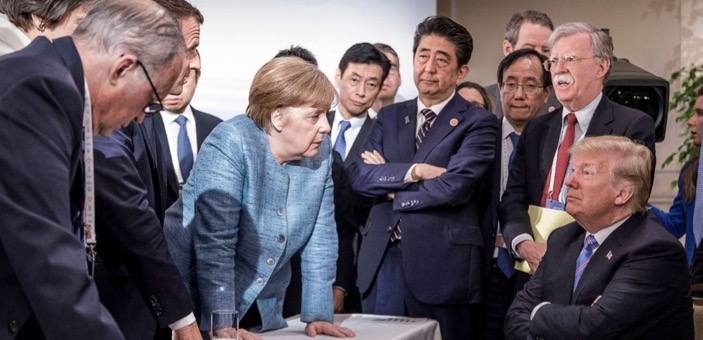 Angela Merket and other G7 leaders taking to a defiant Donald Trump / Stop the World
