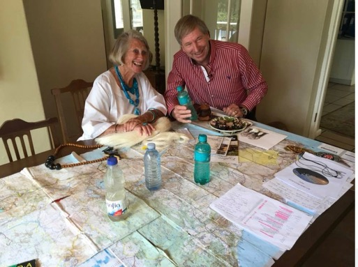 Cape Town Granny and friend studying map of Africa