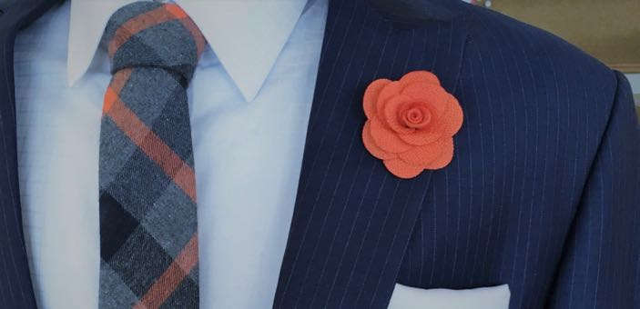 Frederick Thomas London - handmade accessories for men flower lapel and tweed tie