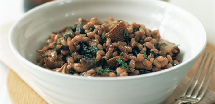 Pearl Barley Risotto with red wine and mushrooms
