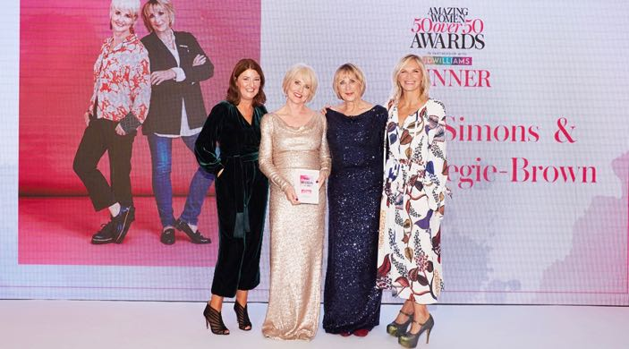 Bombshell glam - Annabel & Grace receiving their Women&Home Amazing Women awards from Jo Whiley