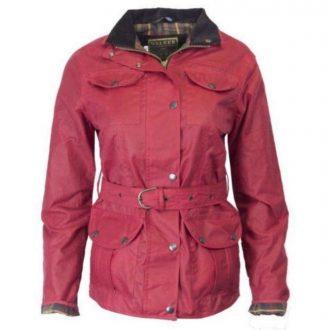 Walker and Hawkes Ladies red belted wax jacket