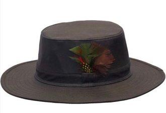 Walker and Hawkes Unisex Navy Wax Outback Aussie Wide Brim Hat