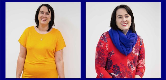 Body shapes - showing Amy wearing wrong colour on left but good colour choices on right