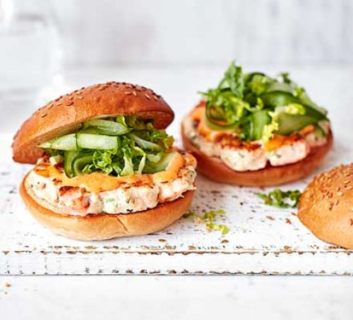 Prawn & Salmon Burgers With Lip Licking Spicy Mayo