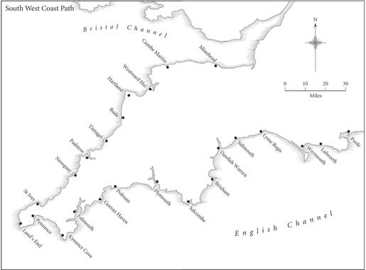 South west coastal map - from book review of The Salt Path by Raynor Winn