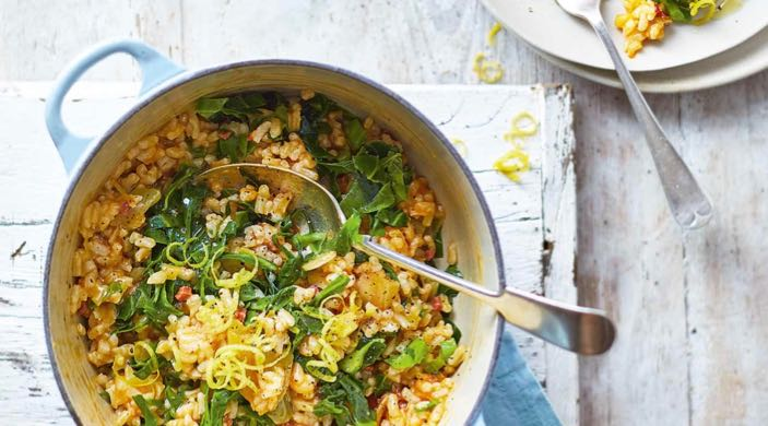Baked Chorizo and Black Kale Risotto – No Ladling Required