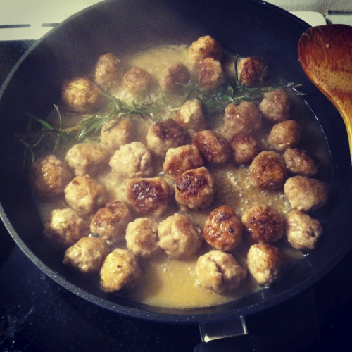 Frankie's Polpette or meatballs with rosemary white wine sauce