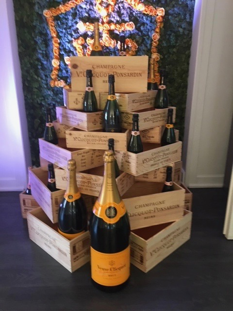 A pyramid display of Veuve-Cliquot from post - My two favourite things for July: Veterans & Veuve Cliquot