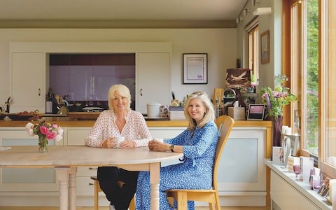 Annabel & Jane Gordon having coffee at home from article ~ My Dream move to the Country left me lonely by Jane Gordon (& Belle) (Stella magazine)