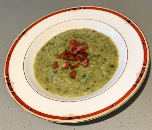 Broccoli, Butterbean & Crispy Bacon Soup
