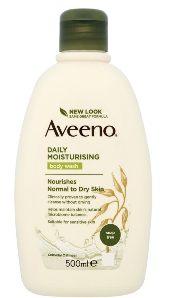 Aveeno available from Amazon for £6.39 for 500ml.