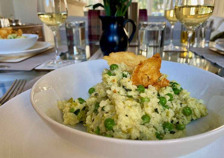 Creamy Leek and Pea Risotto with 'Parmesan' Crisps