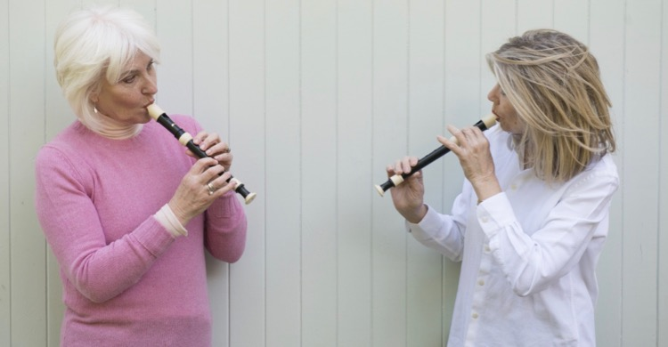 Belle and Jane practising recorder for Jane's book, How Not to Get Old