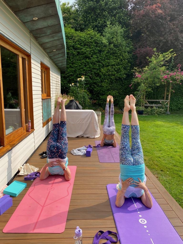 Socially distancing yoga in the garden from post: Lockdown Week 12: Boris' Bubbles & lifting the lockdown