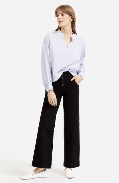Everlane silky cotton split-neck blouse £48 from post Online Fashion