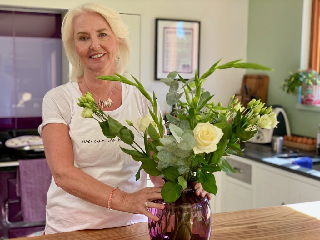 Annabel with a delivery from Freddie's Flowers