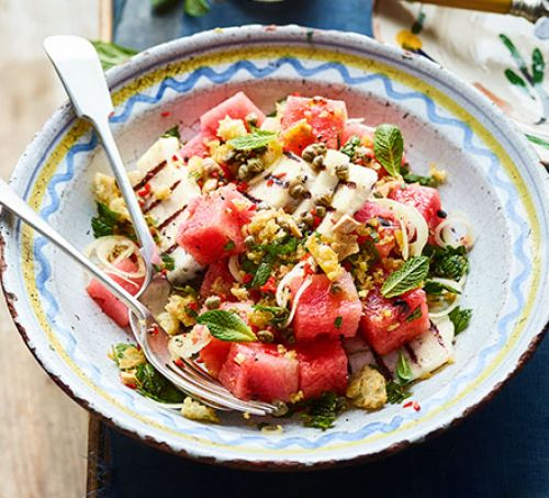 Griddled Halloumi and Watermelon Salad with Caper Breadcrumbs