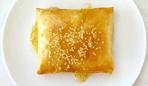 Baked Feta cheese in Filo Pastry with honey & sesame seeds