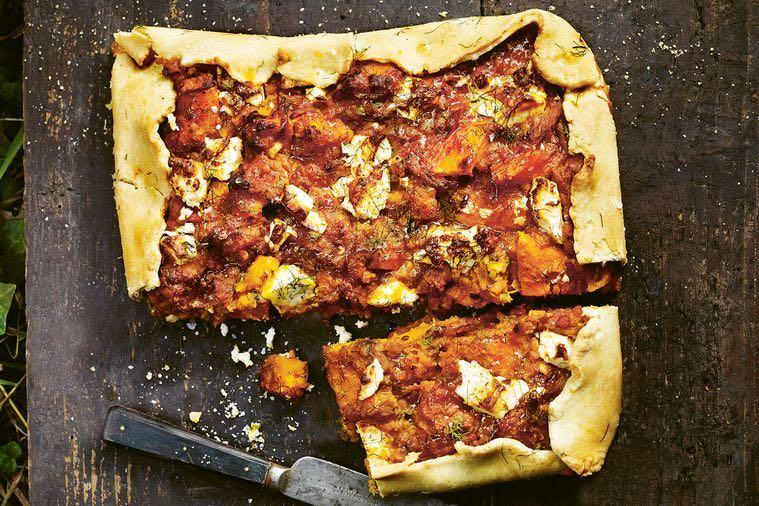 Squash, Lentil, Tomato & Rosemary Pie