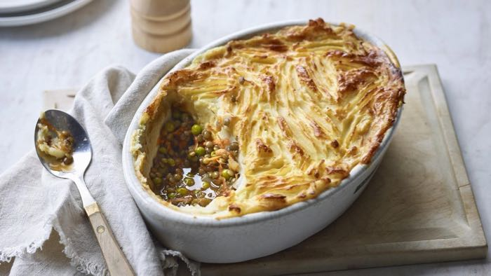 Mushroom and Lentil Pie with root vegetable mash