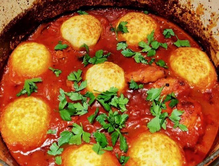 Chicken Arrabbiata Stew & Parmesan Dumplings