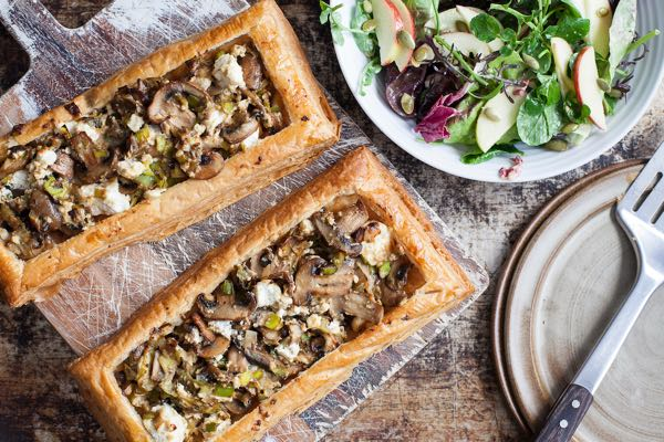 Mushroom and Leek Tart with apple salad