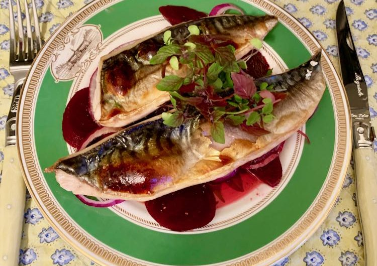 Grilled mackerel fillets with sweet and tangy beetroot