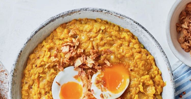Butternut Squash Dahl with eggs and crispy onions