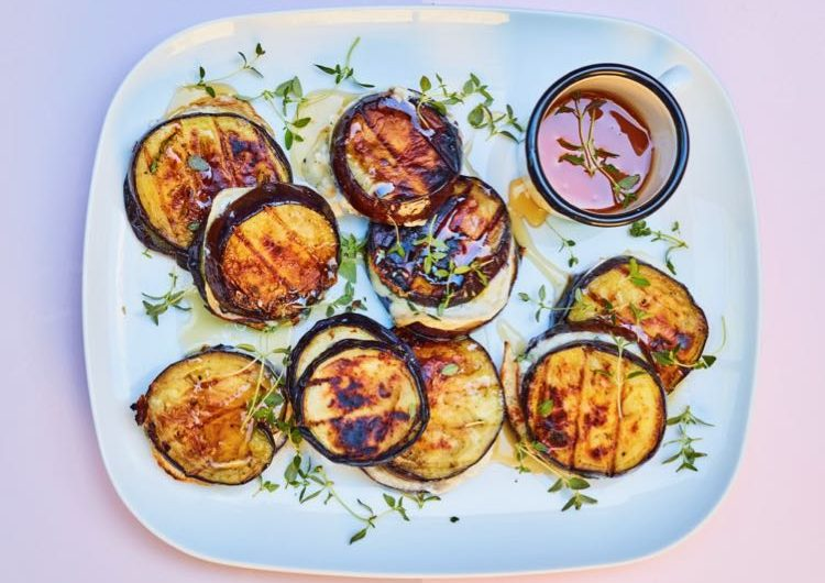 Aubergine & Goat's Cheese Burger Stacks with Honey and Thyme