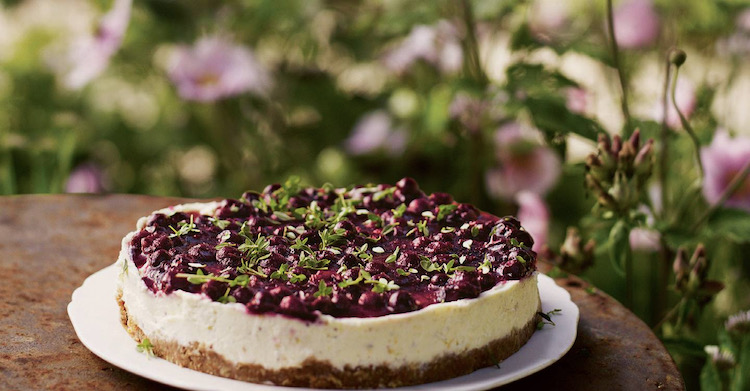 Blackcurrant and Lemon Cheesecake with Fennel Seed and Lemon Thyme